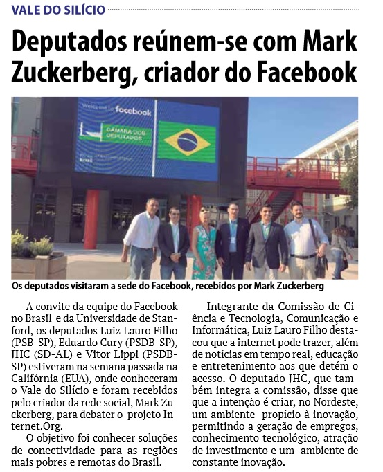 Deputados e Mark Zuckerberg